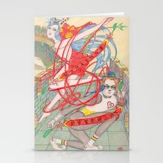 The Legendary Panda Brother & Dragon Sister Stationery Cards by Zhou