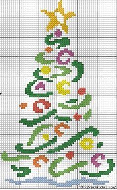 arbolito navideño, punto de cruz