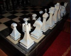 Band saw chess set based on plan found on Woodsmith.com. You can make chess pieces without a lathe!