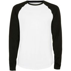 TOPMAN White and Black Raglan T-Shirt ($22) ❤ liked on Polyvore featuring men's fashion, men's clothing, men's shirts and men's t-shirts