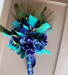 Peacock Bridal Bouquet Package Turquoise Blue Purple