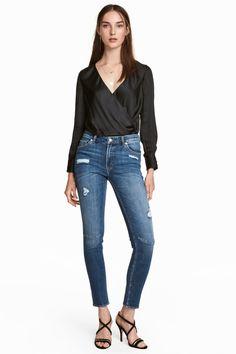 Girlfriend Jeans - Deniminsininen/Trashed - Ladies | H&M FI