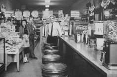 What a wonderful vintage soda fountain of the 1950's. You could buy whatever you needed in these little mom and pop stores.