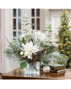 Our Frozen Holiday silk flower centerpiece is ideal for a fanciful frozen holiday at Petals. Winter Flower Arrangements, Silk Flower Centerpieces, Winter Centerpieces, Christmas Arrangements, Christmas Table Decorations, Winter Decorations, Wedding Centerpieces, Silk Floral Arrangements, Christmas Flowers