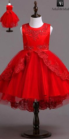 In Stock Alluring Tulle & Satin Jewel Neckline Ball Gown Flower Girl Dress With Beaded Lace Appliques & Bowknot African Dresses For Kids, Gowns For Girls, Little Dresses, Little Girl Dresses, Girls Dresses, Flower Girl Dresses, Kids Dress Wear, Baby Dress Design, Kids Frocks