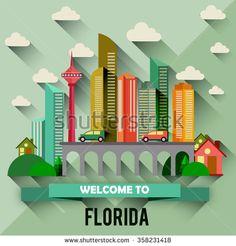 Florida - Flat design city vector illustration - stock vector