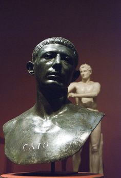 Portrait of Cato the Younger. Found in the House of Venus, Volubilis (1943). Possibly 60s AD copy of earlier portrait. Bronze. Rabat Archaeological Museum. Inv. 99.1.12.1341