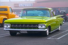 Chartreuse El Camino.  Find parts for this classic beauty at restorationpartssource.com.