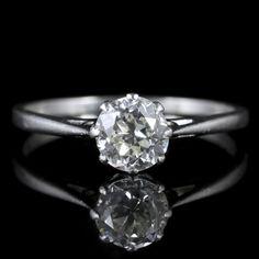 Antique Edwardian Diamond Solitaire Ring Platinum Engagement Ring 1.30ct