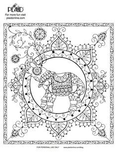 4 Free Adult Coloring Book Page Printables! Elephant Mandala