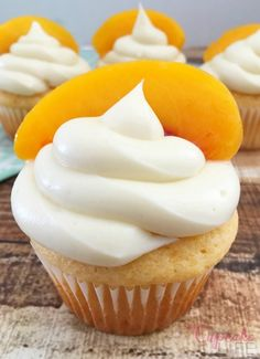 Go ahead and treat yourself to these perfectly pretty Peaches 'N Cream Cupcakes. They are the perfect combo for summer and day dreaming about that sun kissed glow you've longed for all winter long. Peach Cupcakes, Yummy Cupcakes, Cupcake Cookies, Cupcake Flavors, Cupcake Recipes, Dessert Recipes, Cupcake Ideas, My Dessert, Frosting Recipes