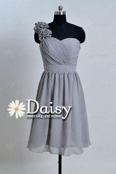 Maid of Honor Dress ??  Custom Grey Bridesmaid DressShort Chiffon by DaisyBridalHouse, $85.00