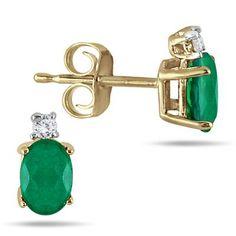 Oval Emerald Drop and Diamond Earrings in 14K Yellow Gold