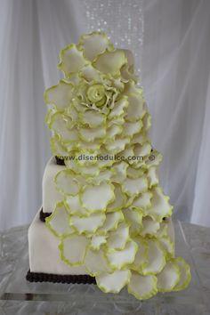 Lime Petal Cascade Wedding Cake