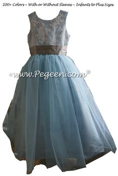 Flower Girl Dresses by Pegeen.com in Steele Blue and Wolf Gray Silk, Aloncon Lace and Tulle