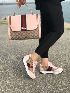 Shoes & bag sets - gucci shoes - latest and fashionable gucc Gucci Sneakers Outfit, Best Sneakers, Gucci Shoes, Sneakers Fashion, Fashion Shoes, Shoes Sneakers, Gucci Handbags, Purses And Handbags, Replica Handbags