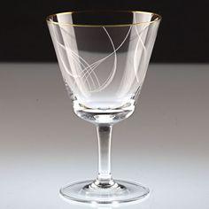 1 Vintage Weinglas Weißweinglas Goldrand Dekor Linien geschwungen weiß ~ 50er K2
