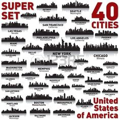 Incredible city skyline set 40 city silhouettes of United States of America Stock Vector