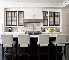 Things That Sparkle: white kitchen with black details
