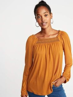 d1378445cfe1d Old Navy Ruffled Lace-Yoke Square-Neck Blouse for Women https