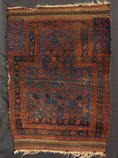 Electric blue Taimani prayer rug - Galerie ArabesQue