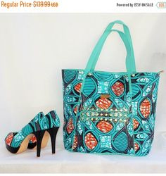 Sale African Print Pumps And Tote  Bag Set African by ZabbaDesigns  African fashion, Ankara, kitenge, African women dresses, African prints, African men's fashion, Nigerian style, Ghanaian fashion_ MBB