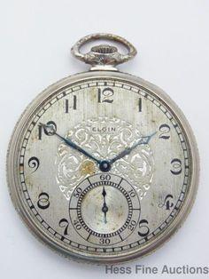 Running Elgin Vintage Art Deco Streamline 12s Mens Pocket Watch #Elgin