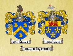 ANNIVERSARY CREST - Dual Coat of Arms / Family Crest for Married Couples printed on a Parchment scroll