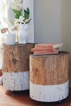 dip dye stump table, painted furniture, repurposing upcycling