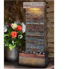 Found it at Wayfair - Tacora Stone and Copper Wilton Natural Slate Fountain