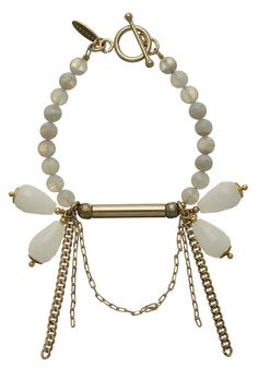 LOTO  BRACELET WITH WHITE JADE DROPS, GOLD CHIAN,GOLD HEMATITE AND GRAY AGATE