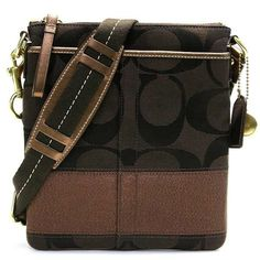 Coach Signature Stripe N/S Black Swingpack Crossbody Bag. Starting at $15