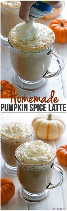 Easy to make and tastes way better than any coffee shop version! | Littlespicejar.com @litlespicejar #pumpkinspice #pumpkinspicelatte #coffee