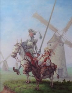Don Quixote and his faithful companion (Don Quijote és hű társa) - artist: Szász Endre László