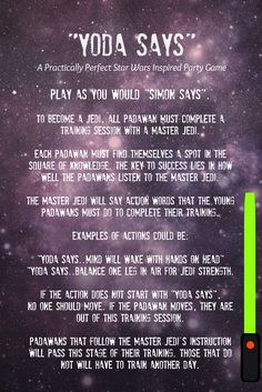 """Need a game for your next Star Wars Party? This Practically Perfect Party Game is a spin on the classic, """"Simon Says"""". Young padawan will train with a Jedi Master listening to their every command. Those who pass, will continue on their Jedi training. Those who do not, will have to train another day."""