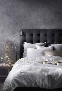 Classic Home Decor .Classic Home Decor Ikea Bedroom, Bedroom Inspo, Home Bedroom, Room Decor Bedroom, Modern Bedroom, Bedroom Furniture, Grey Wall Bedroom, Dark Bedrooms, Grey Headboard