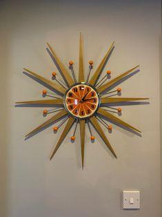 27 inch Hand Made Mid Century style Starburst Sunburst Clock Mid Century Modern Art, Mid Century Style, Sunburst Clock, Retro Office, Retro Clock, Hand Wax, Modern Restaurant, Chrome Plating, Store Design