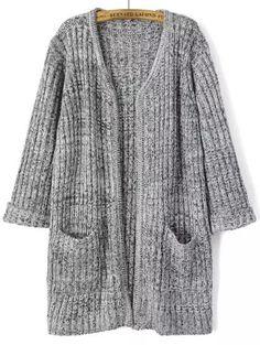 Grey Long Sleeve Pockets Knit Cardigan 21.33