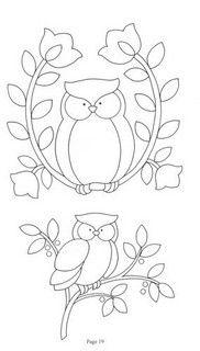 Owl applique or redwork. Applique Templates, Applique Patterns, Applique Quilts, Owl Applique, Owl Templates, Flower Applique, Cross Stitch Embroidery, Hand Embroidery, Embroidery Designs