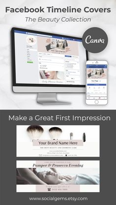 Beauty Facebook Cover Template suitable for social media marketing Facebook Cover Photo Template, Facebook Timeline Covers, Graphic Design Tools, Tool Design, Blush Beauty, Branding Kit, Instagram Story Template, Social Media Template, Banner Template