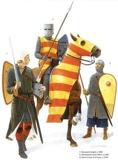 German Medieval Armies 1000–1300 - circa 1220-25. 1. Savoyard Knight 1225 2. Infantryman from Aries 1220 3. Count Louis II of Loos 1216 Medieval World, Medieval Knight, Medieval Armor, Medieval Fantasy, Armadura Medieval, High Middle Ages, Templer, Knight Armor, Knights Templar