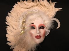 Ceramic Wall Mask Cream Feathers Gold Flowers