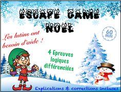 Escape game pour les vacances de Noël. Un nouveau jeu de réflexion pour terminer la période 2 ludiquement. CE2-CM1-CM2 La mission : Aider les lutins du Père Noël à retrouver leurs mots de passe informatiques. Ils ne peuvent plus accéder à leur liste d'enfants sages !