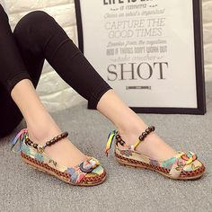 5700fac12d7 Bead Chain Knitting Butterflyknot Vintage Retro National Wind Lace Up Flat  Shoes
