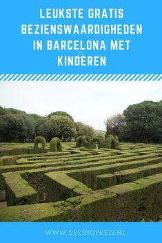 Leukste gratis bezienswaardigheden in Barcelona met kinderen. Zoals Park La Horta Labyrinth met een doolhof. #spanje #barcelona
