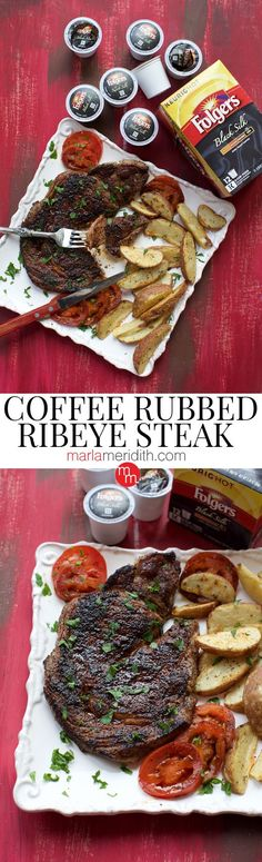 Coffee Rubbed Ribeye Steak with @Folgers Get this delicious recipe on MarlaMeridith.com ( @marlameridith ) #ad