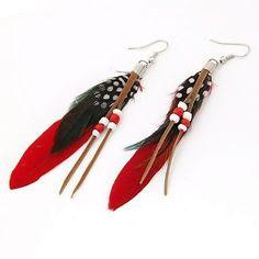 Druppel oorbellen met kralen rode kleur zwarte witte druppels veren