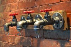Industrial Pipe Wall Hook / Key Holder [ Reclaimed Wood Floor Backboard ] on Etsy, $76.00