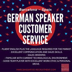 If you speak #German and want move in #Spain submit your CV (in English) at marc@highfive-recruitment.com  #highfiveyourjob #recruitment #success #potential #hiring #career #greatjob #chance #customerservice #highfiveyourcareer #decision #candidate #business #opportunity