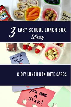 Be organized with fun food ideas and notes for your child's lunch box. These 3 lunch ideas will give your kids a delicious variety. The note cards are a fun way to let them know you're thinking of them.